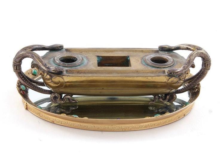 French bronze inkwell and gem-set ormolu tray (2pcs)