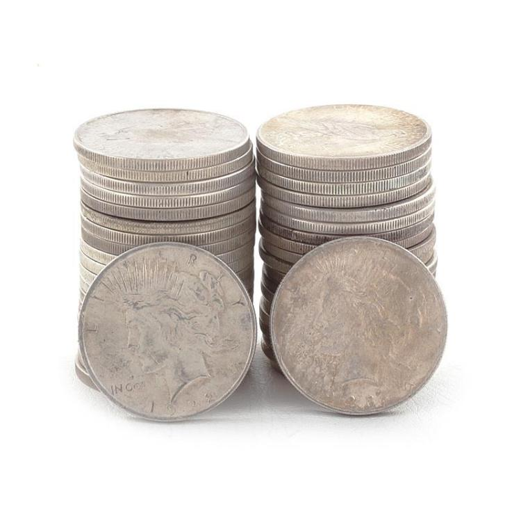 †Collection 40 Peace silver dollar coins (40pcs)
