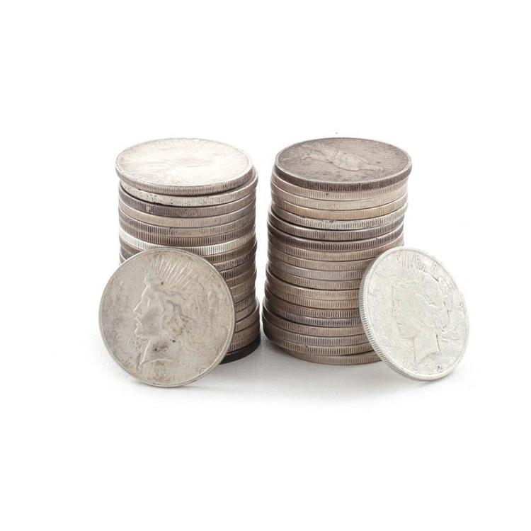 †Collection 40 Peace silver dollar coins (40pcs)