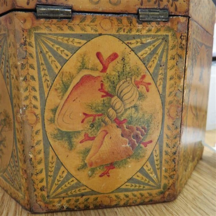 English paint-decorated tea caddy