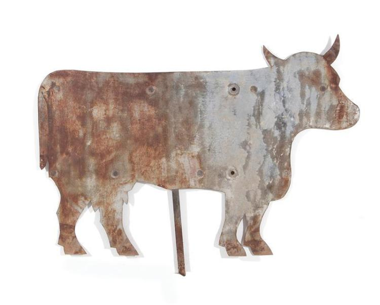 Folk Art wrought-metal cow