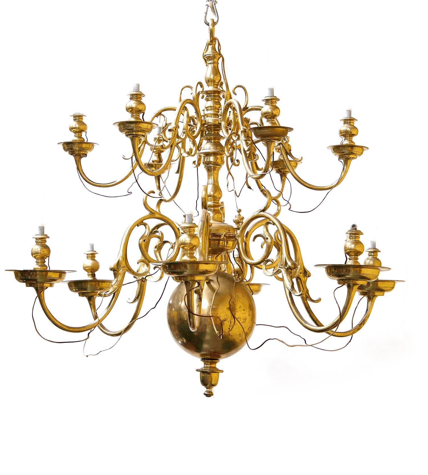 English Brass Twelve-Light Chandelier