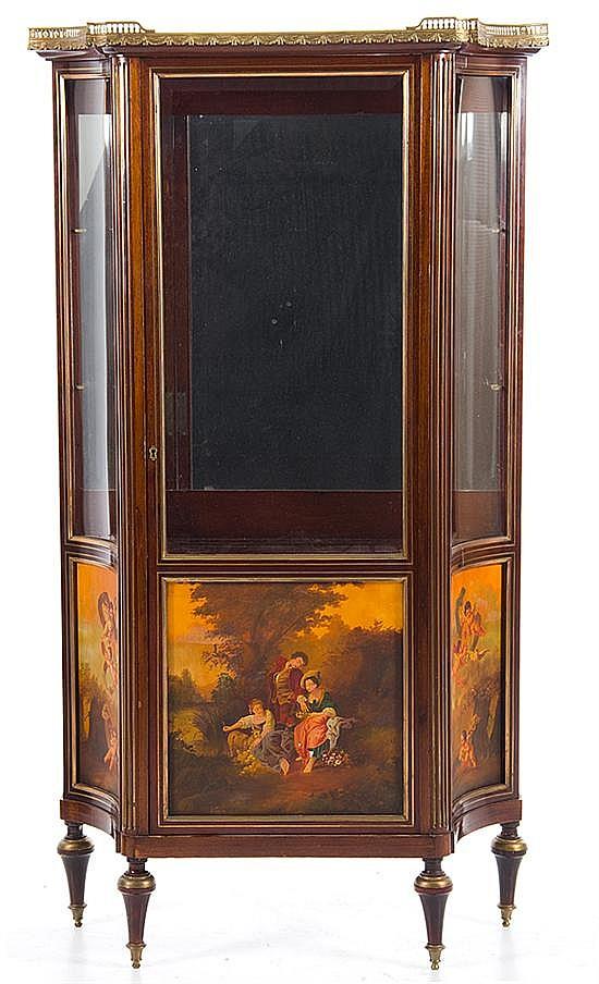 Louis XVI style bronze-mounted mahogany Vernis Martin vitrine