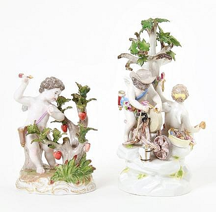 Meissen porcelain Labors of Cupid figure, and another figurine (2pcs)