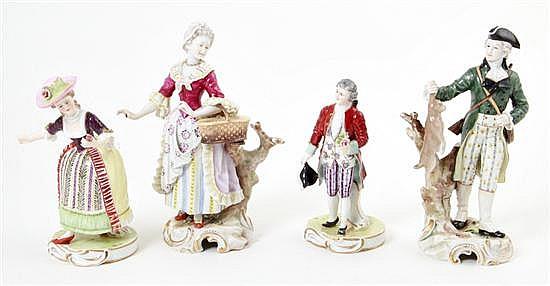 German porcelain figures of romantic couples (4pcs)
