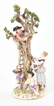 Meissen figural group of The Apple Pickers, after J.J Kandler and F.E. Meyer