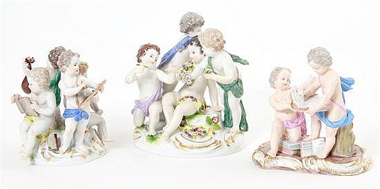Meissen porcelain figural groupings of putti (3pcs)