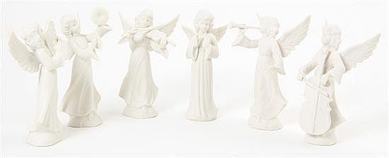 Dresden bisque porcelain angel orchestra (6pcs)