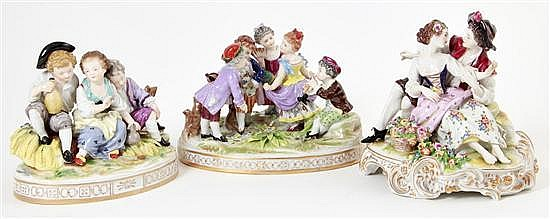 German porcelain figural groupings (3pcs)