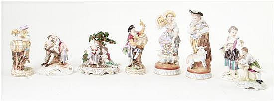 German porcelain figures and figural groupings (8pcs)
