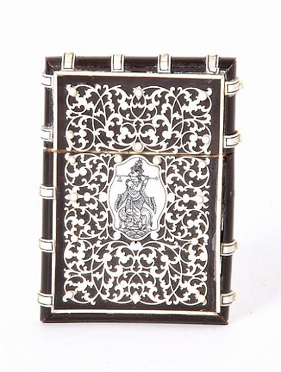 Anglo-Indian carved ivory-mounted card case