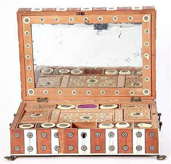 Anglo-Indian bone inlaid wood sewing box