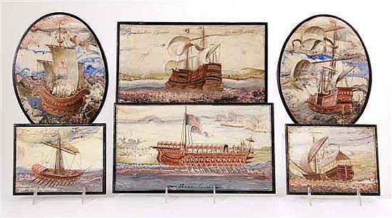 Set of Italian painted slate panels (6pcs)