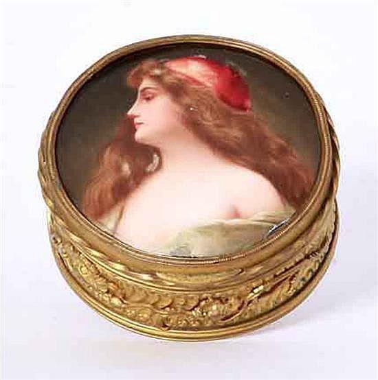 KPM porcelain inset ormolu box