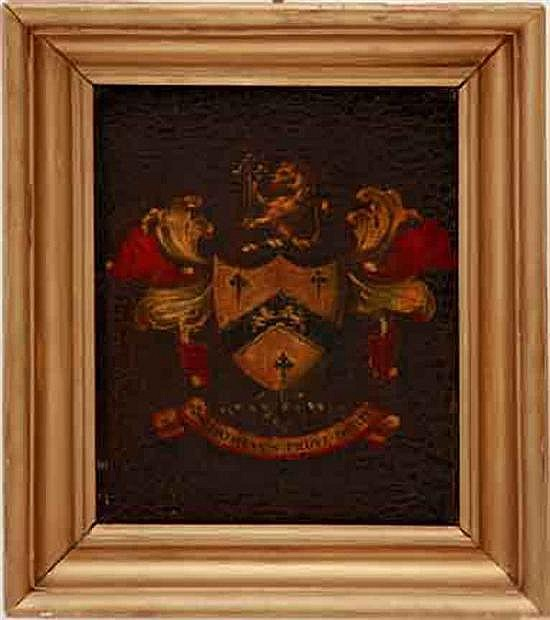 Framed coat-of-arms painted panel