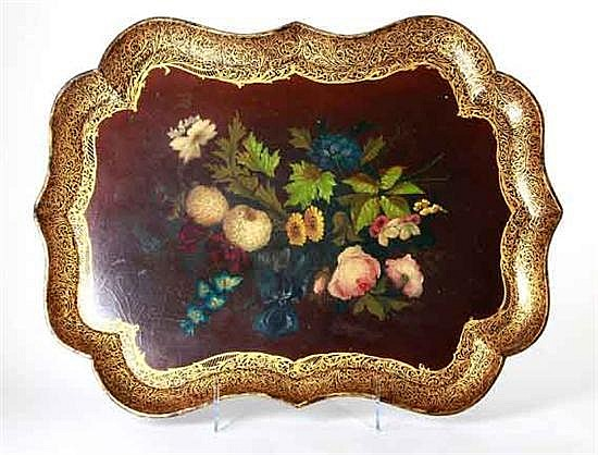 Very fine Continental painted papier mache tray