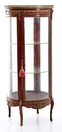 Louis XV style marbletop and bronze-mounted mahogany circular vitrine