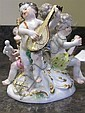 Image 4 for Meissen porcelain figural groupings of putti (3pcs)