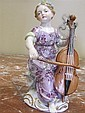 Image 2 for Meissen porcelain figures of performers (3pcs)