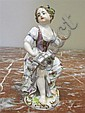 Image 5 for Meissen porcelain figures of performers (3pcs)