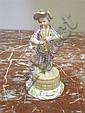 Image 8 for Meissen porcelain figures of performers (3pcs)