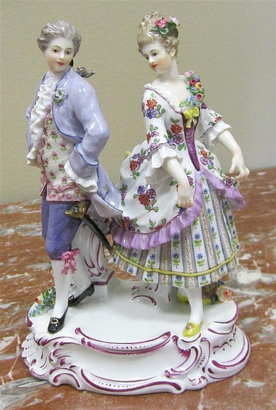 Meissen porcelain figures of romantic couples (3pcs)