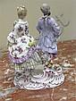 Image 4 for Meissen porcelain figures of romantic couples (3pcs)
