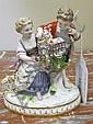 Image 9 for Meissen porcelain figures of romantic couples (3pcs)