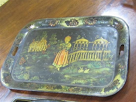 Collection of toleware trays and cachepots (7pcs)