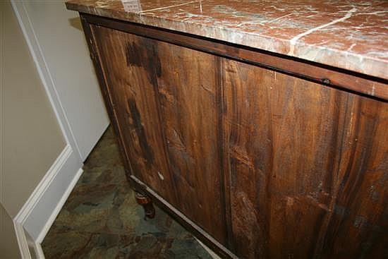 Continental fruitwood veneer marbletop chest of drawers