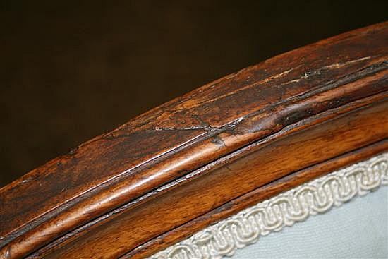 Louis XVI carved fruitwood bergere