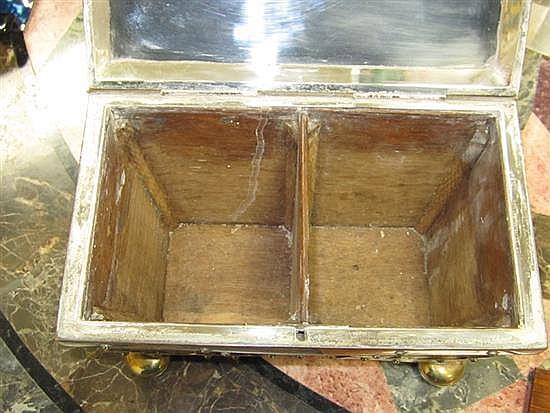 Aesthetic Movement silver-clad oak double tea caddy