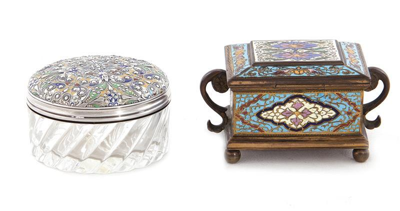 Two French enamel boxes, one retailed by Spaulding & Co (2pcs)