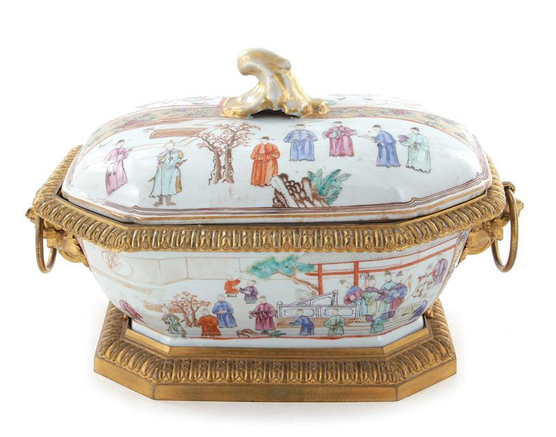 Chinese famille rose ormolu-mounted porcelain tureen and cover