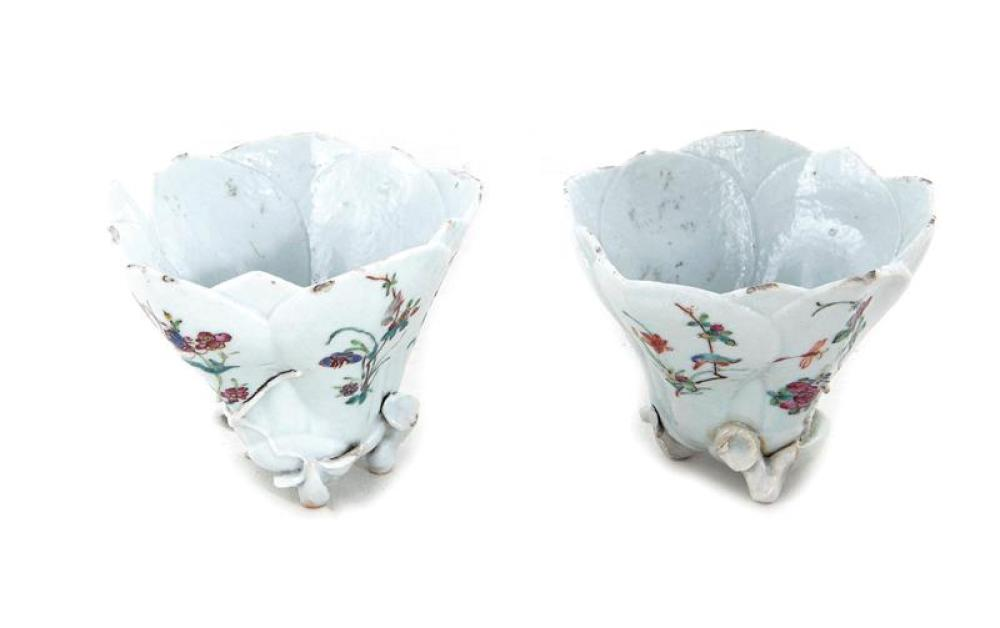 Pair Chinese Export famille rose lotus-form dishes (2pcs)