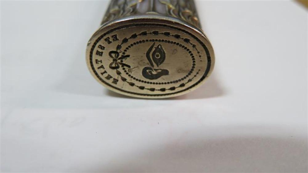 Russian style silver-gilt wax seal case