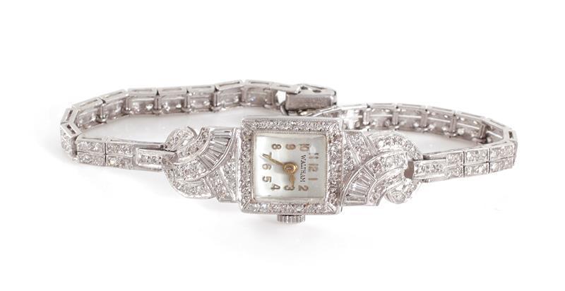 Art Deco platinum and diamond wristwatch, Waltham