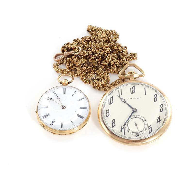 Swiss gold openface pocket watches, and chain (3pcs)