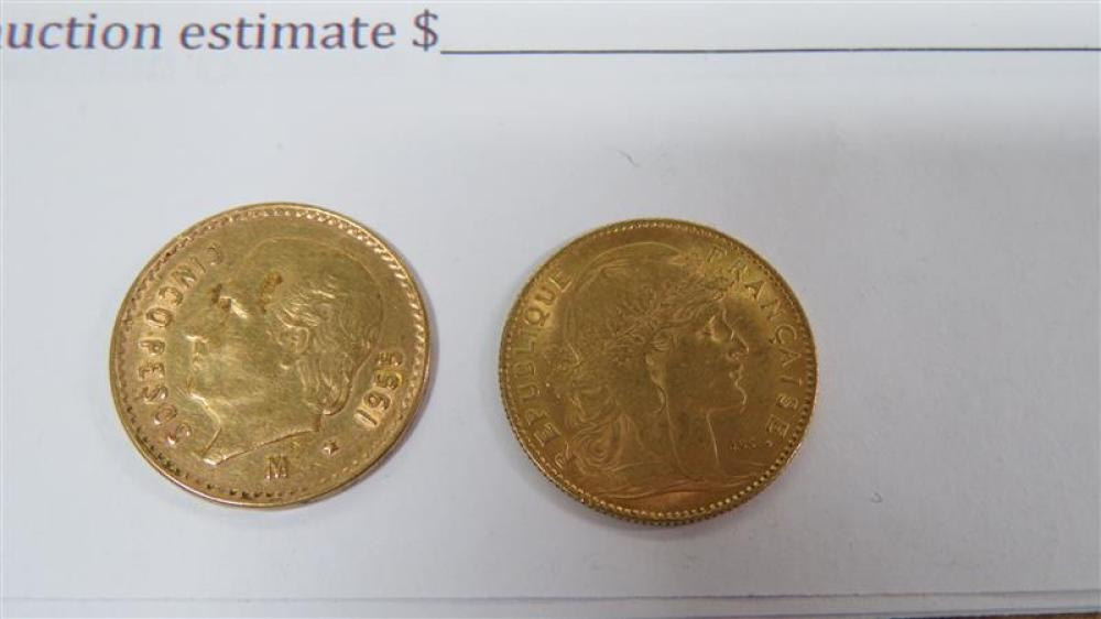 American, Mexican and French gold coins (3pcs)