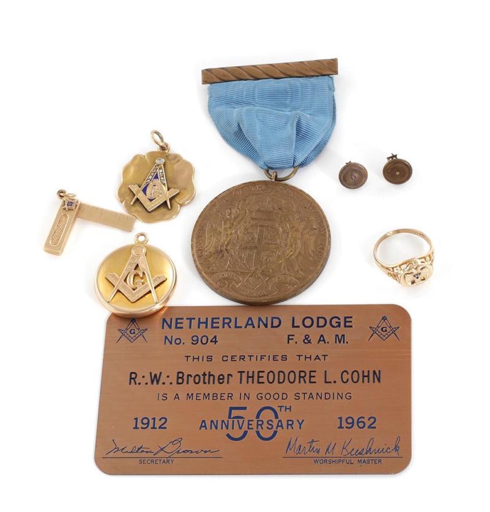 Vintage Masonic gold pendants, locket, and New York Lodge bronze medal (8pcs)