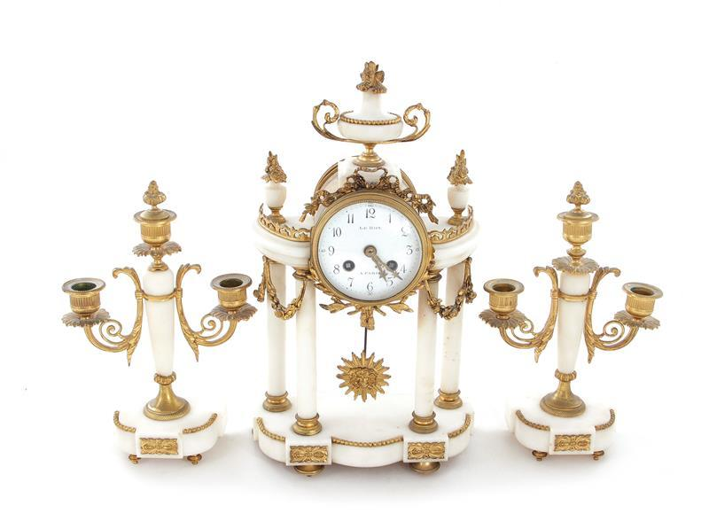 French ormolu and marble portico clock garniture, Le Roy (3pcs)