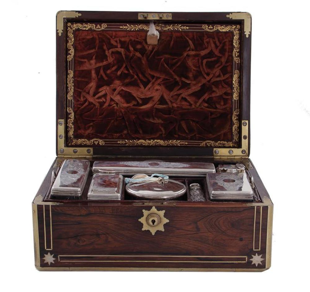 Halstaff brass-inlaid rosewood travel case