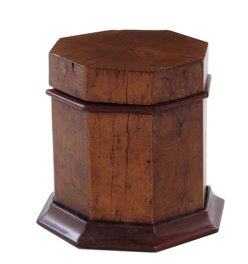 English burl walnut octagonal tobacco box