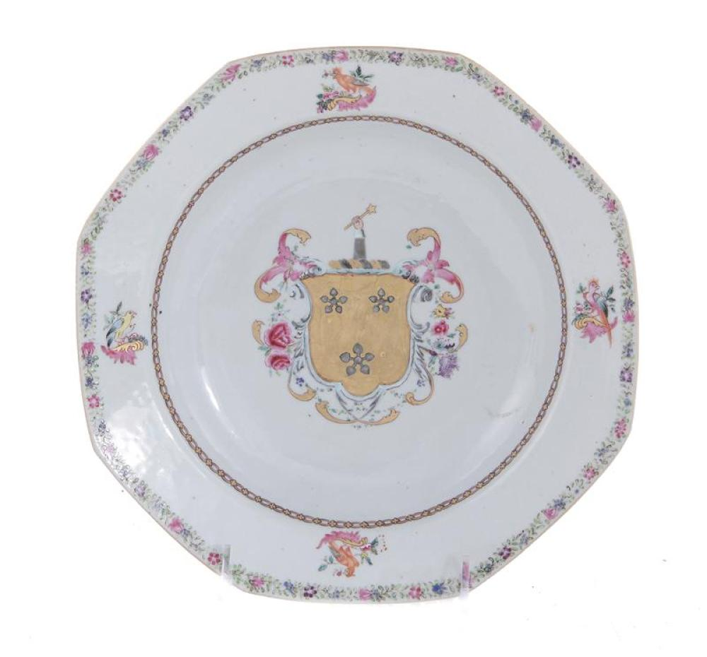 Chinese armorial porcelain plate, Sir Thomas Dyke of Lullingstone Castle