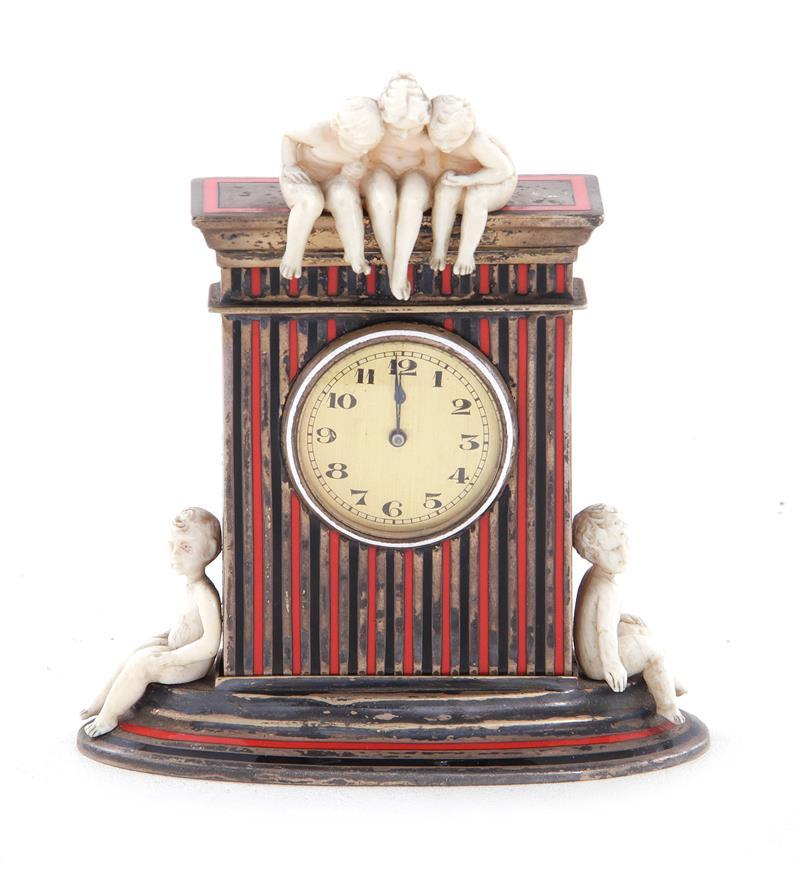 French Art Deco enameled silver table clock