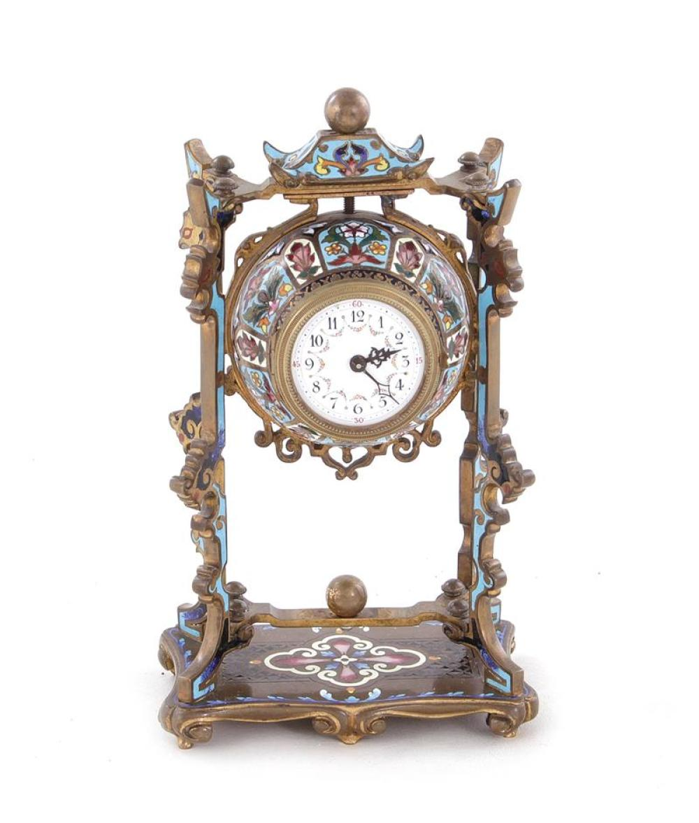 Continental Chinoiserie enameled table clock