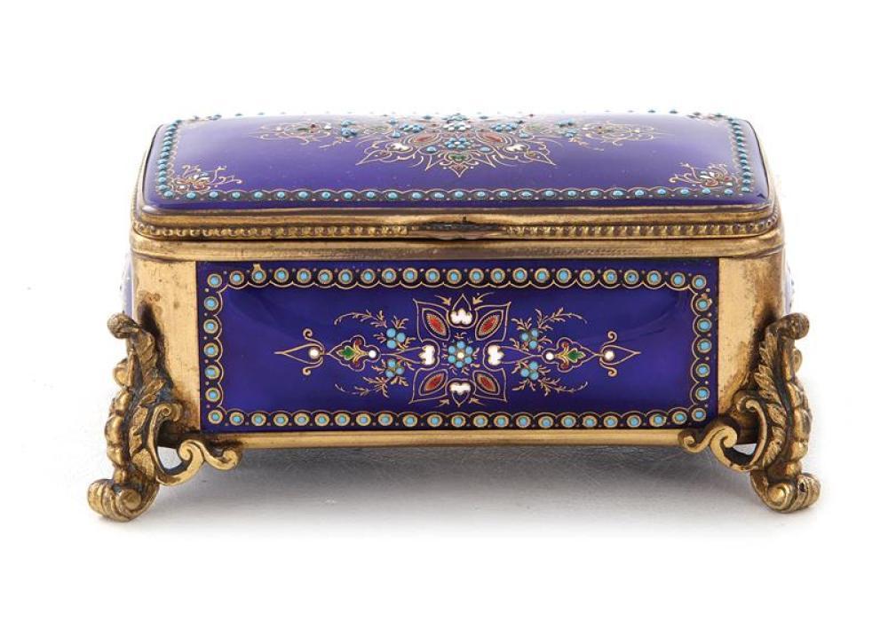 French enameled trinket box