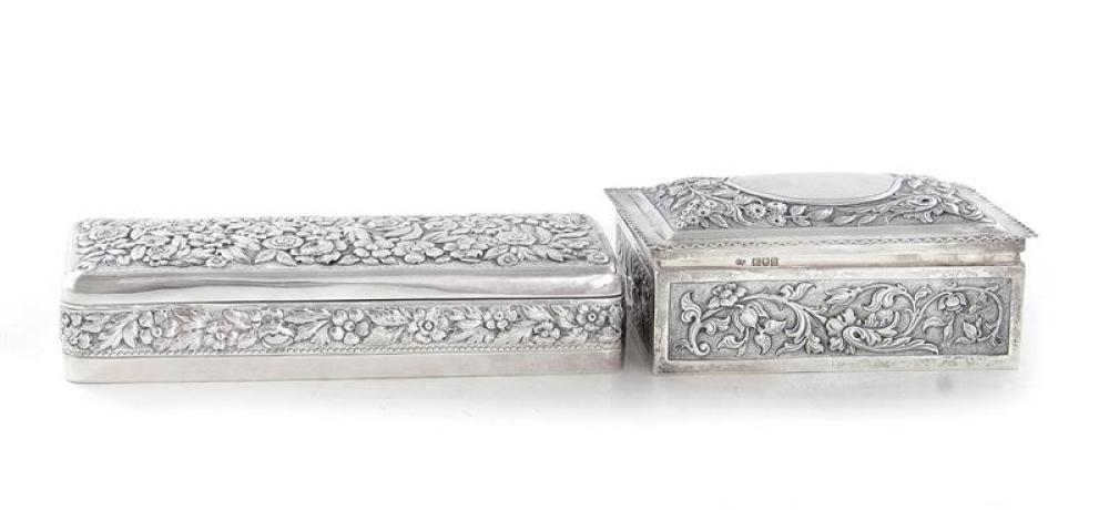Repousse sterling boxes, English & Tiffany & Co (2pcs)
