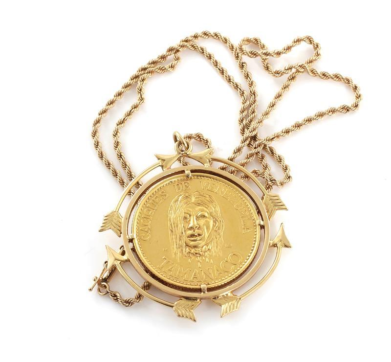 Venezuela Cacique (Indian Chief) gold token in pendant on chain
