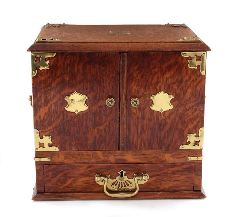 Late Victorian oak and brass collector's box